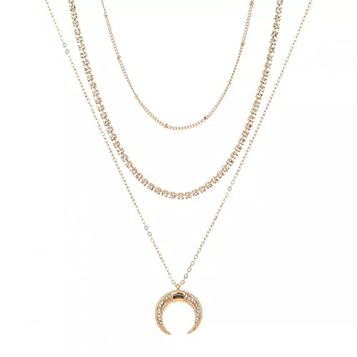 Collar Colgante Vender Collar de Diamantes con Colgante de Cuerno de Luna Retro de múltiples Capas de Moda Simple Ajustable Collar Amistad Aniversario San Valentín Cumpleaños Regalo
