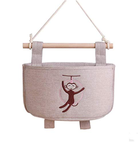 Wall-mounted small hanging pockets cute cotton and linen creative storage bag hanging bag type door storage pockets wall hanging small hanging bag, swinging monkey