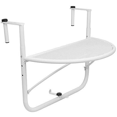 PrimeMatik - Mesa abatible semicircular para balcón 60x30cm Blanco
