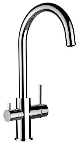 Grifo de cocina 3 vias para sistemas de filtro / purificador de agua con caña giratoria 360 ° - doble conducto totalmente independiente el uno del otro