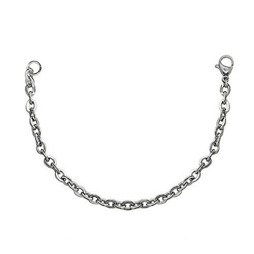 tumundo Cadena de Ancla Acero Collar Eslabones Link Enlace Cuello Hombre Mujer Plata Joyería Carabina 50-60 cm, Modelo:Kette - 45cm + Armband