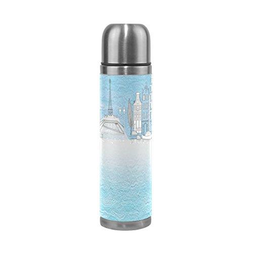Isaoa Blanc Bleu colombe Château en acier inoxydable Gourde thermos Thermos anti-fuites Isolation sous vide Bouteille thermos à double paroi pour café chaud ou froid à thé (500 ml 479,1 gram Bleu)