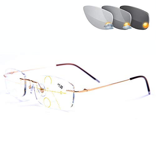 CAOXN Rahmenlos Reader Progressiver Multifokaler Männer Und Frauen Lesung Sonnenbrille Mit Photochromen Übergang Linsen Hyperopie Presbyopie Brillen,Gold,+3.00