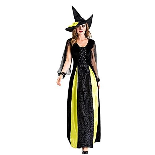 WFEI Traje para Mujer Vestido de Mascarada Classic Hearwitching Bruja Disfraces de Halloween Halloween Sexy Cosplay Vestido,Negro,XL