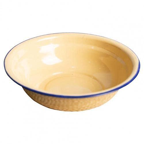 ¡Ventas calientes !!! Plato de sopa multifuncional duradero del esmalte de la vendimia del cuenco para la cocina-amarillo 16 cm
