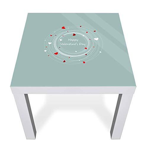 banjado Glasplatte für IKEA Lack Tisch 55x55cm   Abdeckplatte aus Sicherheitsglas   Motiv Love is All Around   Tischplatte für Beistelltisch, Sofatisch weiß Glasplatte & Tisch