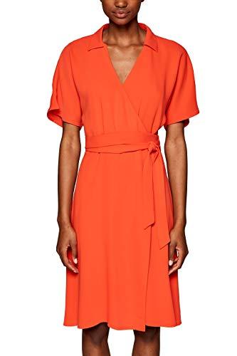 ESPRIT Collection Damen Kleid 039EO1E003, Orange (Red Orange 825), (Herstellergröße: 36)