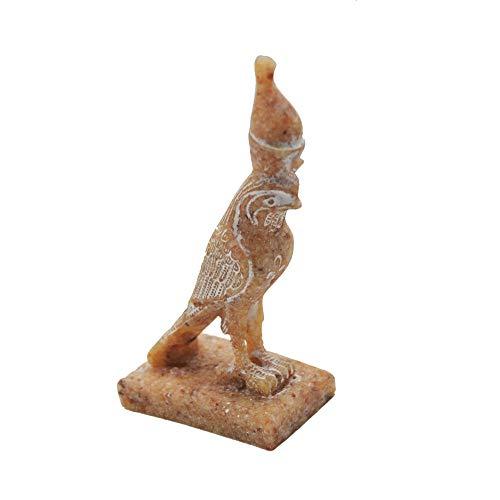 Estatua de Horus Halcón Dios de la Fuerza y protección, Hecho de Granito a Mano en Egipto Mide Alto 15 cm, Fondo 9 cm y Ancho 5,5 cm Aproximadamente