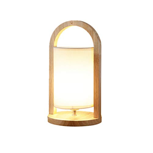LIN HE SHOP Lampe de Chevet en Bois Massif Lampes de Table en Bois diamètre 19cm, Hauteur 36cm avec Ampoule E27 LED 5W Base pour Salon, Bureau, Chambre à Coucher, hôtel