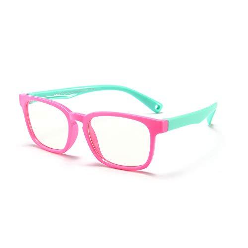 Suertree Anti Blaulicht Brille Kinder Blaulichtfilter Gläser für Computer,TV,Online-Unterricht Brillengestell pink
