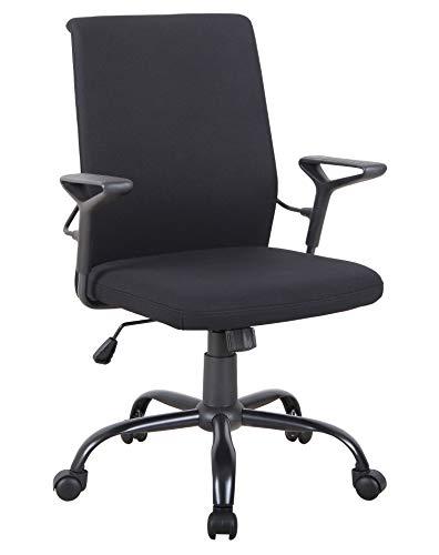 SixBros. Bürostuhl,Schreibtischstuhl zum Drehen, Drehstuhl für's Büro oder Home-Office, stufenlos höhenverstellbar, Chefsessel aus Stoff, schwarz 1211M/8063