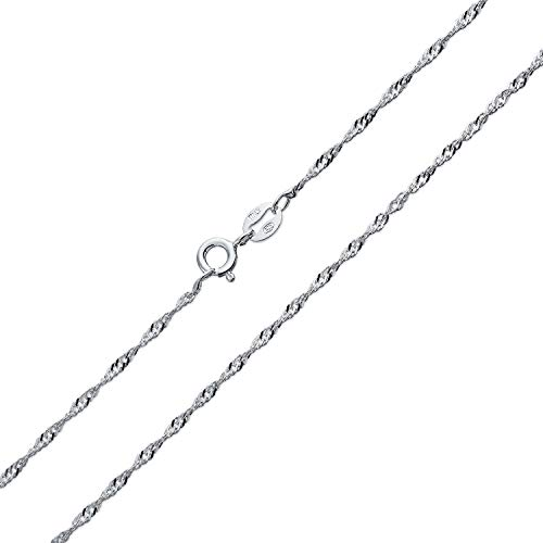 Bling Jewelry Thin Singapore Twisted Rope Link Chain 1.5 MM 020 Gauge for Women Necklace 925 Sterling Silver Italian 20 inch