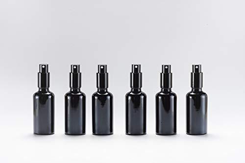 Yizhao Negro Pulverizador Cristal 50ml, Glass Spray Bottles con [Atomizador],para Aceites Esenciales, Mezclas de Aromaterapia, Perfumes, Masajes, Líquidos Químicos, Farmacéutico– 6Pcs