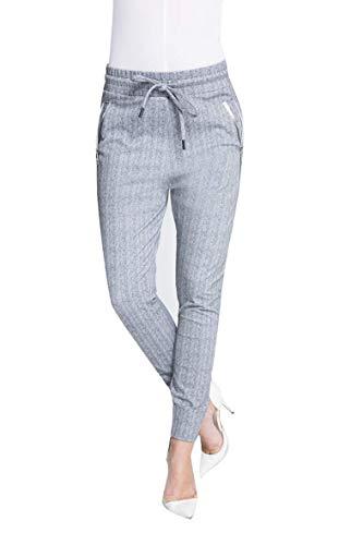 Zhrill Damen Joggpant Stoffhose Anzugshose Tapered Cropped Slim Fit Fabia, Größe:XS, Farbe:N1118 - Grey