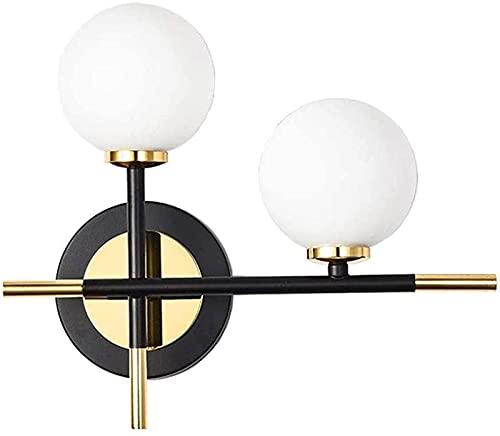 MWKL Lámpara de Pared LED posmoderna con 2 Luces, Globo de Vidrio Blanco con Accesorios de iluminación de Pared de Metal, lámpara de Pared para Sala de Estar y Porche Junto a la Cama