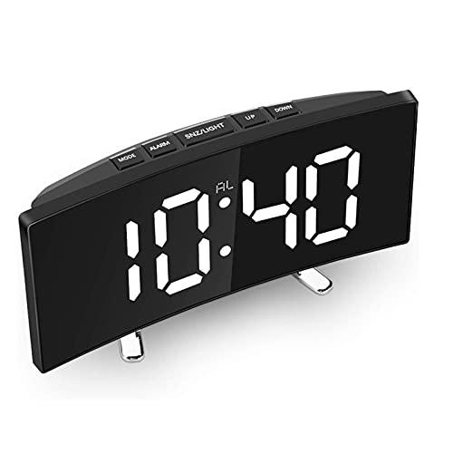 NJZY Reloj Despertador Digital de 1 Pieza, Reloj de Escritorio Digital electrónico Curvo con Led Sn Regulable de 7 Pulgadas para Dormitorio de niños