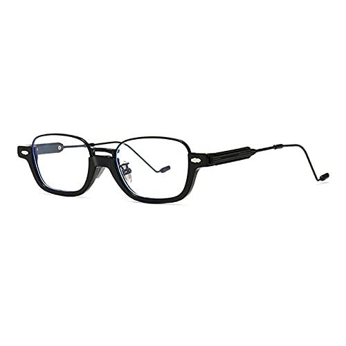 RuaRua Gafas Luz Azul,Marco De Moda Hlaf, Anteojos De Luz Anti-Azul, Marcos Ópticos Gafas De Sol Rectangulares Retro Uv400, Negro Transparente, Talla Única