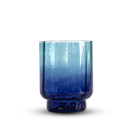 Black Velvet Studio Jarrón Decorativo y Moderno de Cristal Lazy Blue, florero,...