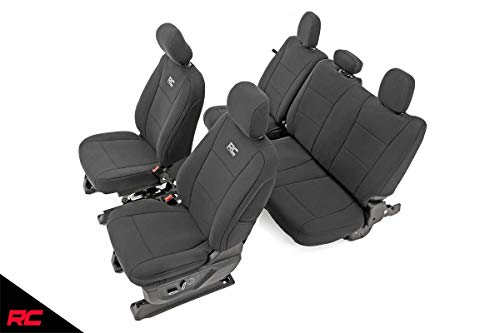 Rough Country 91018 Neoprene Seat Covers Black Front/Rear (fits) 2015-2020 F150 XL/XLT | 1st/2nd Row | Water Resistant
