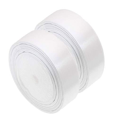 Nastro di raso, 25 mm x 44 m, bianco, rotolo di nastro di raso per cucito,