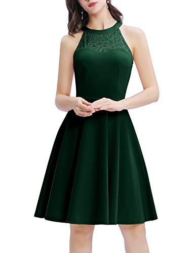 Bbonlinedress Damen Cocktailkleid Abendkleider Rockabilly Retro Vintage Neckholder Dark Green M