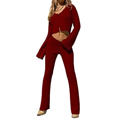 Alaurbeauty Traje de punto para mujer de punto acanalado, 2 piezas, conjunto sexy, manga larga, con cremallera, parte superior de cuello en V, cintura alta, pantalones elásticos Y2k A vino tinto. XXL