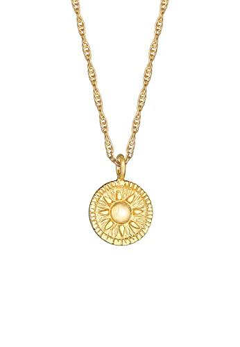 Elli Collares Collar de cordón para señoras Colgante monedas sol redondo tendencia antigua en plata de ley 925