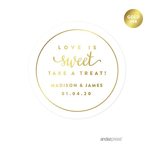 Andaz Press Personalized Round Circle Wedding Favor Gift Labels Stickers, Metallic Gold Ink, Love is Sweet Take a Treat, 40-Pack, Custom Made Any Name, Gold Stationery, Envelope Seals
