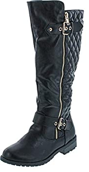 Forever Link Women's Mango Zipper Accent Riding Boots