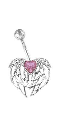 Karisma zilveren navelpiercing engel hart met Swarovski Elements - roze