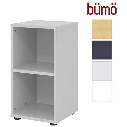 bümö® smart Aktenregal aus Holz | Büroregal für Aktenordner | Büro Regal System für Ordner | Bücherregal inkl. Einlegeböden (Grau, Breite = 40 cm | 2 Ordnerhöhen)