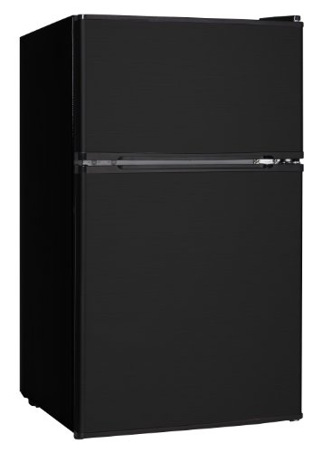 Midea WHD-113FB1 Double Door Mini Fridge with Freezer for Bedroom Office or Dorm with Adjustable Remove Glass Shelves Compact Refrigerator, 3.1 cu ft, Black