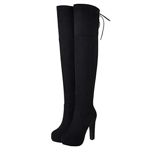 Overknee Stiefel mit Blockabsatz und Schnürung High Heels Plateau Stretch Boots 12cm Absatz Winter Schuhe(Schwarz,38)