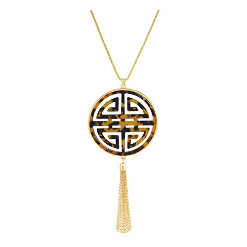 HSWE Statement Long Necklace for Women Oriental Celtic Four Blessing Good Luck Disc Pendant Necklace Fringe Tassel Tortoise Shell Leopard Print Acrylic Resin Necklace (Tortoise Shell)