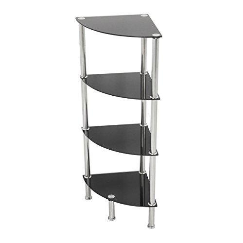 Modernes Eckregal für das Badezimmer, glas, Schwarz , 4 Shelf