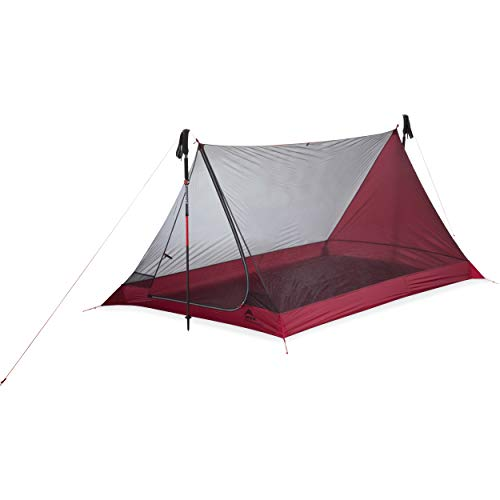 MSR Thru-Hiker Mesh House 2-Person Ultralight Mesh Backpacking Tent, Red