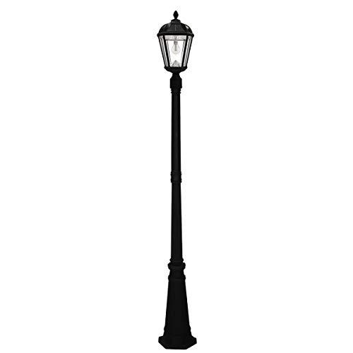 Gama Sonic GS-98B-S-BLK Royal Bulb Lamp Post Outdoor Solar Light Fixture and Pole, Single, Black