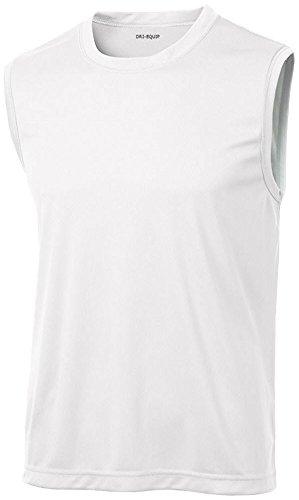 DRIEQUIP Mens Sleeveless Moisture Wicking Muscle T-Shirt-White-3XL