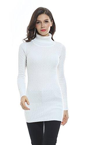 Sofishie Fashion Cable Knit Turtleneck Long Sweater - White - Medium
