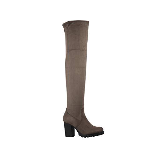 Elara Damen Stiefel Overknee High Heels Absatz Chunkyrayan 4835-1 Army Green-40