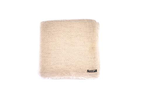 Annapurna Kaschmir - Coperta 100% Lana Cashmere, beige chiaro/bianco con grigio chiaro - disegno a spina di pesce, 125 x 250 cm