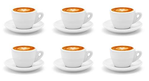 Luxpresso Dickwandige Cappuccinotassen weiß aus Porzellan, im italienischen Design, 6 Stück im Set