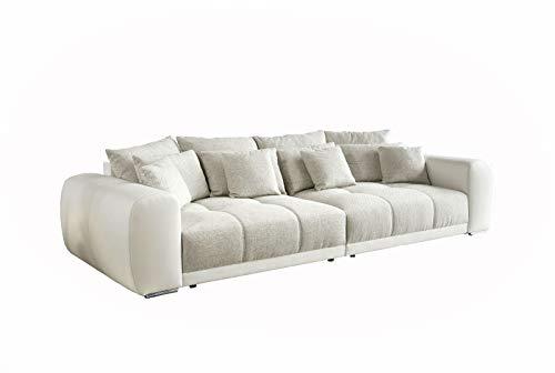 lifestyle4living Big Sofa in Weiß/Beige, Struktur-Stoff/Kunstleder   XXL Couch inkl. 8 extragroßen Rücken-Kissen und hochwertiger Federkern-Polsterung