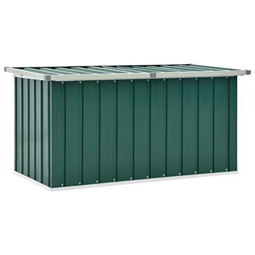 vidaXL Gartenbox Auflagenbox Kissenbox Aufbewahrungsbox Truhe Box Gartenmöbel Gartenkasten Gartentruhe Werkzeugkasten Grün 129x67x65cm