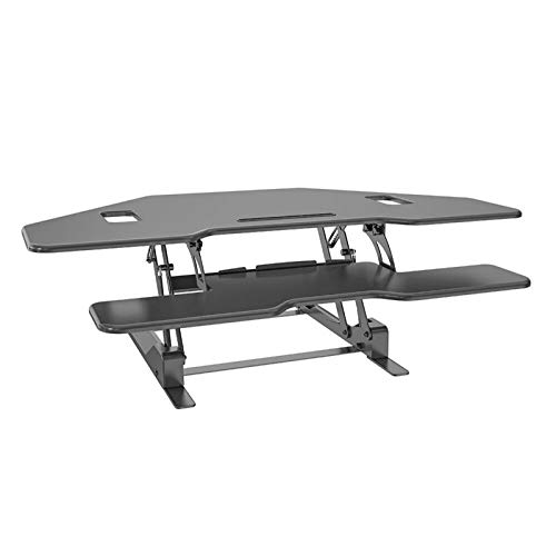 Maoviwq Mesa de pie ajustable triángulo altura ajustable escritorio de pie 48 'L forma de teclado placa para el hogar oficina de pie convertidor de escritorio