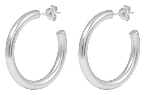 Pernille Corydon Damen Creolen Beta Hoops - 3,5 cm - Matte Oberfläche - 925 Silber - E195s