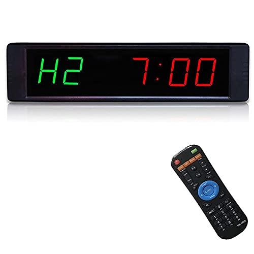 Temporizador de Gimnasio LED, Temporizador de Ejercicios Temporizador de Entrenamiento Temprano Contar conteo/Abajo Temporizador de Reloj con Control Remoto, para Entrenamientos de Ejercicios para e