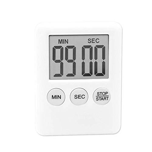 Soulitem LCD Digital Pantalla Temporizador Cocina Cuadrado de Cocina Cuenta Regresiva Alarma Imán Reloj - Blanco