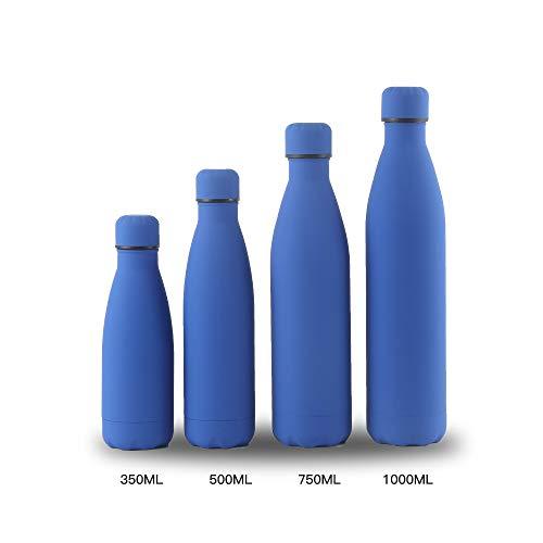 Xiaobing Taza de Doble Capa para Exteriores Botella de Deportes de Acero Inoxidable 304 Taza Termo de Pintura de Goma-Azul zafiro-500ml-G372