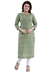 QueenShield Womens Formal & Casual Cotton Chikan Kurti For All Plus Size And Small Size (34 TO 56)